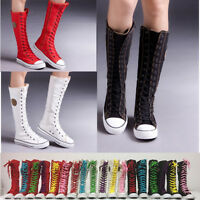 PUNK Women's Girl's Knee High Shoes Lace Up Boot Zip Fashion Canvas Sneaker NEW