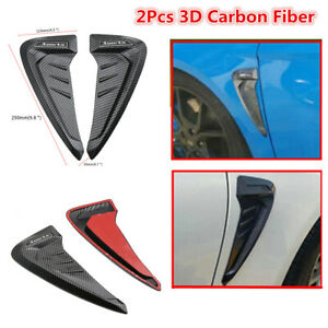 2Pcs Car Front Fender Side Air Vent Cover Trim Shark Gills 3D Carbon Fiber Look