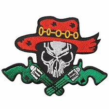 Skull Mexican Skeleton Cross Guns Horror Ghost Cowboy Biker Iron on Patches 1675