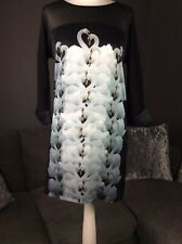 MINT VELVET Tunic dress 100% silk swan print Front UK 10 3/4 Sleeve & Pockets D3