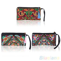 Women's Ethnic Embroider Purse Wallet Clutch Card Coin Holder Phone Bag Bump