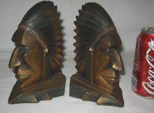 ANTIQUE GEOMETRIC ART DECO INDIAN WAR CHIEF ART STATUE SCULPTURE BOOK BOOKENDS
