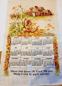 Vintage Linen Tea Towel 1979 Calendar House Water Pump Bless this House Lord EUC