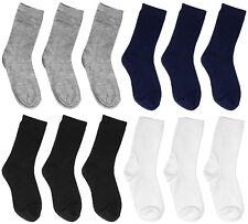 Falari 12-Pack Boy Girl Toddler Kids Cotton Crew Socks Black White