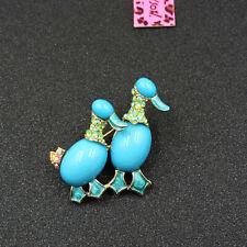 Double Duck Rhinestone Woman Brooch Pin Hot Betsey Johnson Blue Shining Crystal
