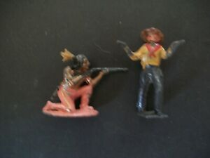 CHARBENS 54MM HOLLOW CAST INDIAN AND UNKNOWN COWBOY