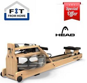 HEAD Rowing Machine Water Resistance Home Gym Exercise Rower Premium Oak Wood