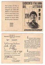 PNF Card Tessera A.XVII Ia Giovane Italiana