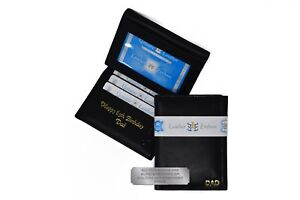 Personalised Engraved Mens Quality Luxury Soft Black Leather Trifold wallet