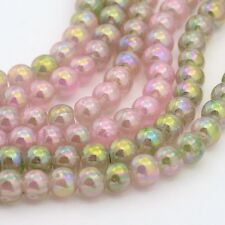 14mm Spray Painted Glass Beads, Pink AB, Approx 30pcs