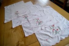 """4 VINTAGE PALE PINK COTTON ANTIMACASSARS CHAIRBACKS Floral Embroidery 15"""" x 20"""""""