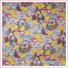 BonEful Fabric FQ Cotton Quilt Pink Easter EGG Flower Baby Chick Bird Butterfly