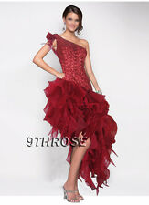 CAPTIVATING BEADED EVENING/FORMAL/PROM DRESS WITH RUFFLE SKIRT; BURGUNDY AU8/US6