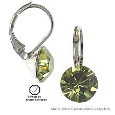Earrings with Swarovski Elements, Colour: Khaki, Green