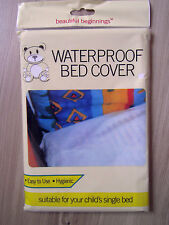 KIDS WATERPROOF SINGLE BED COVER SHEET BABY COT BED WHITE MATTRESS PROTECTOR
