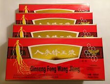 4 Pack Red PANAX GINSENG ROYAL JELLY Extract orale LIQUIDO 40 FIALE totalmente