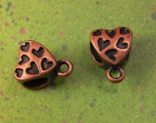 20 Bronze Heart Bail Connector Charm European Spacer Beads Hearts Bails Charms