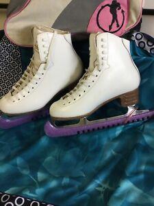 JACKSON CLASSIQUE  WHITE FIGURE ICE SKATES SIZE 8 1/2 BLADES 10 1/2