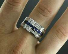 1.00 CT Diamond & Blue Sapphire Men's Wedding Band 14k White Gold Over Band Ring