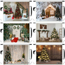 Rustic Wood Wall Christmas Tree Fireplace Photo Background 10X8FT Vinyl Backdrop
