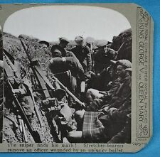 WW1 Stereoview Stretcher Bearers Remove Wounded Officer Trench Realistic Travels