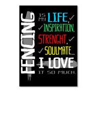 Fencing I Love Sticker - Portrait