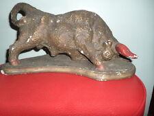 American Buffalo Bison Bronze Crafted Chalkware Sculpture Figurine