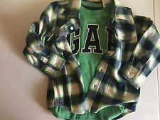 New Baby Gap Boys Size 4 T lot of 2 Shirts Flannel Logo Long sleeve Green Blue