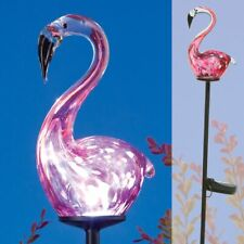 Solar Powered LED Artisan Blown Glass Pink Flamingo Sculpture Garden Stake