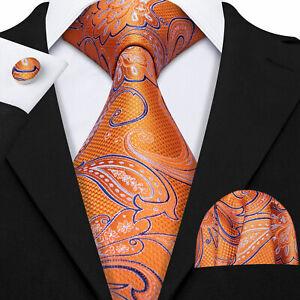 Orange Floral Paisley Floral Silk Men Tie Necktie Pocket Square Cufflinks Set