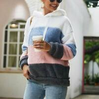 Fluffy Jumper Hooded Top Sweatshirt Warm Pullover Hoodie Women's Sweater Ladies