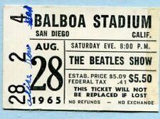Original 1965 Beatles Concert Ticket Stub Balboa Stadium San Diego CA  Help!