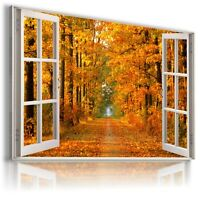 SUMMER PARK POND 3D Window View Canvas Wall Art Picture W204 UNFRAMED MATAGA .