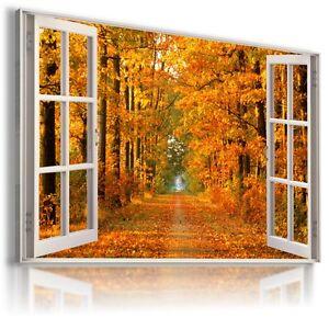 GOLDEN AUTUMN PARK FOREST 3D Window View Canvas Wall Art Picture W265 MATAGA