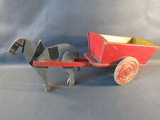 Ancienne petite carriole et ane jouet en bois ancien déco vintage antique toy