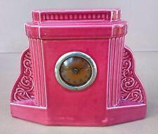 Ancienne pendule à clé DIGOIN GARNITURE CHEMINÉE horloge ART DÉCO céramique ROSE
