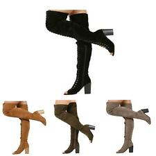 NEW WOMENS LADIES OVER THE KNEE CHUNKY HIGH BLOCK HEEL PEEPTOE BOOTS SHOES SIZE