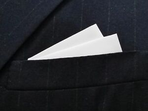 POCKET SQUARE White 2 point wing style - pre-folded & Sewn- Just slip in pocket