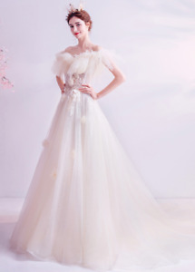 Womens Off Shoulder Tulle Flowers Wedding Dresses Chic Bride Gown Floral Sequins