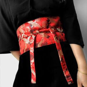 Women Lady Japanese Corset Obi Belt Satin Wide Waistband for Kimono Yukata Retro