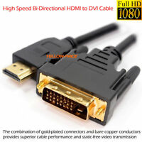 2M Gold HDMI to DVI-D 24+1 Cable DVI to HDMI Cord F HDTV Full HD TV Audio Video