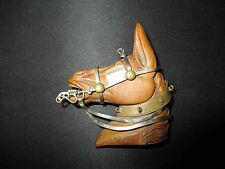 ancienne broche tête de cheval buis sculpté et métal début XX ème