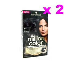 LOT DE  2 SCHWARZKOPF MILLION COLOR COLORATION TEINTURE COULEUR 1-1 NOIR BLEUTE