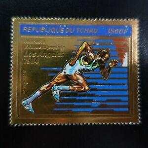 TCHAD POSTE AÉRIENNE PA N°243 TIMBRE EN OR JEUX OLYMPIQUES LOS ANGELES 1987