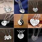 Slice Charm Pendants Chain Necklace Best Friend Broken Heart Vintage Silver BS