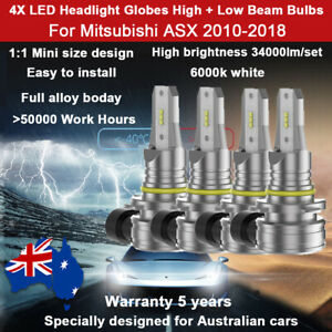 For Mitsubishi ASX 2013 2014 4X 1:1 34000LM Headlight Globes High Low Beam lamps