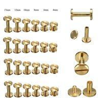 Flat Belt Screw Leather Craft Chicago Nail Brass Solid Rivets Stud Head 4-15mm
