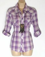 Women's Vintage C&A YESSICA Long Roll Sleeve Fitted Purple Cotton Shirt UK18