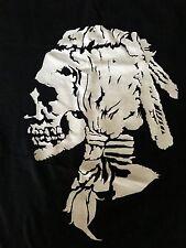 Men's Black T-Shirt-Skull Feather Headdress/Braids Graphic by Bloodbath-Size L/X