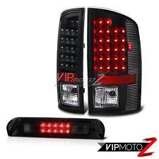 Matte Black LED SMD Tail Lights Smoke Tinted 3rd Brake 07 08 Dodge Ram 1500 2500